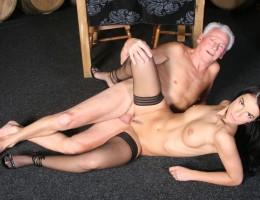 Lucky senior man fucking a real sexy beauty hard indoors