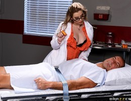 Dr. Sunny Lane is the sweetest, sexiest doctor youve ever met, and she knows exactly how to get her stubborn patient to take his medicine. For every pill he swallows she gives him a reward. First she lets him suck on her plump, natural tits, then she si