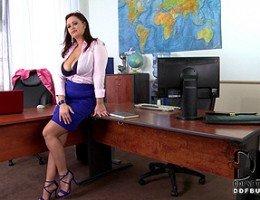 Sexy Sirale Shows Off Her Colossal 34F Tits In Her Office