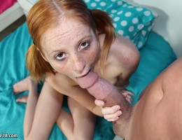 Redhead slut Alyssa stroking and riding huge cock
