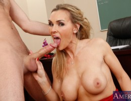 Gorgeous busty blonde teacher Tanya Tate hos hot sex with one of her big cocked students.