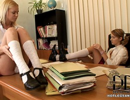 Two Hot Blonde Schoolgirls Causing Kinky Foot Fetish Chaos
