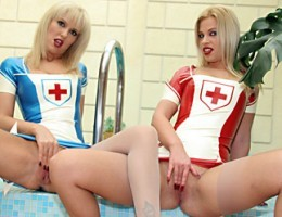 Five dirty chicks wearing latex suits fuck hard in the spa