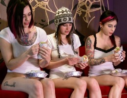 Three hot women eating lunch with no underwear.