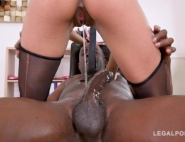 Petite secretary Veronica Leal goes for his big black cock in the office GP745
