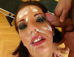 Queenie sucks off three guys who end up cumming all over her face