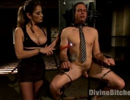 Business man learns the rules of a hot dominatrix\'s dungeon, breaks them by losing his load in her hand held machine pussy & gets punished!