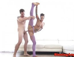 Flexible pornstar babe gets doggystyled