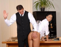 Horny schoolgirl getting her ass spanked hard to bright red