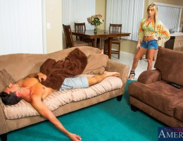 As Nadia enters her home and sees Ryan laid out on the couch asleep, she thinks he has over stayed his welcome. She calls her husband wanting to know why he has been there for a month when he only needed to stay for a week. It\'s his frat brother so h