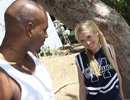 A blonde cheerleader dances only for big black cock