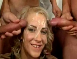 Slut gangbanged and takes bukkake cumshots