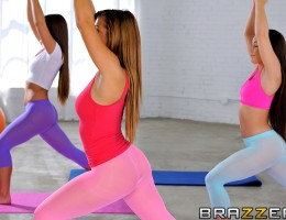 Keisha Grey's super pumped to be doing yoga today, to keep her thick booty nice and flexible. Stretch pants make her whooty butt look so ripe and delicious, her friends can't stop staring at it all throughout their session together. And when one of her fr
