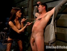 Gia Dimarco dresses her cuck in panties, bra and heels and makes him suck cock and watch her fuck then take a load in his face!