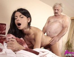 Young brunette babe fucking an old man to make him better