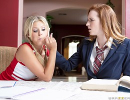 At least the coolest girl in school and the class nerd have one thing in common: a thirst for big dicks. When Scarlet caught a glimpse of Dee Dee\'s step-father coming home from work, she started drooling over that hunky older guy. Dee Dee admitted she\'d