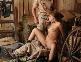 Horny Soldiers Bang Sexy Corporal Sophie Lynx\'s Pussy & Ass