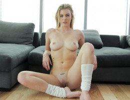 Blonde give a foot massage