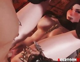 3D vampire babe fucked by big white dick guy
