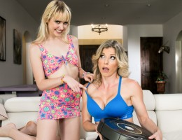 Chloe Cherry makes her step mom Cory Chase clean and fuck.