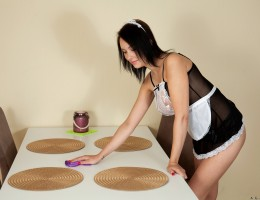 A naughty maid costume lets you know that 18 year old Agatha is up for anything. This playful busty teen invites you to play with her big nipple boobies. If you start down that path, though, be prepared to finger bang her cum hungry bare twat until she is