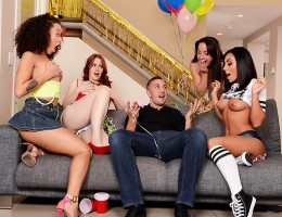 When Keiran Lee got home from vacation to find a bunch of random sluts partying in his living room, he could barely believe what he was seeing. He went in and told the ladies to get out before he called the cops, but their leader, Gianna Nicole, could tel
