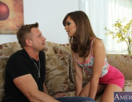 Riley Reid is a gorgeous babe who is horny and decides to sleep with her friends big cocked brother.