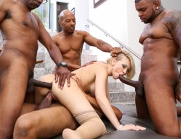Blonde Kagney Lynn Karter gets 4 massive black cocks!