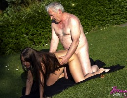 A very horny old grandpa screwing a random young sweetie