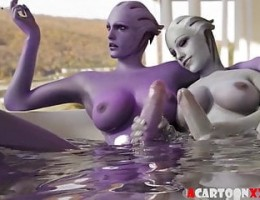 Big tits futanari 3D babes hammering and blowjobs