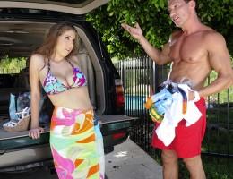Alex Chance is horny for her neighbor and heads over there to ride his big cock.