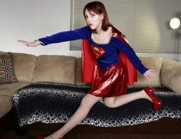 Supergirl removes Superman\'s clothes with her superpowers and grips his dick with her strong and tempting feet, jacking him into submission. Who knew it was so easy to keep Superman down? Well, Supergirl did find a bottle of kryptonite lube.