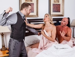 Reginald thinks he\'s got the perfect life and the perfect wife, but everything is not as it seems. Every day when he heads out to work, his woman Julia Ann lets the milk man in the front door to get a crack at her Milf pussy. They hop right into bed for