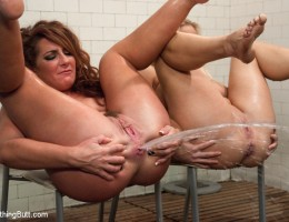 Savannah Fox and Angel Allwood in anal fisting, squirting, enema and Huge strap-on dildo!