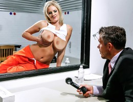 Zoey Holiday is a busty blonde slut in prison for life who has a special arrangement with the guards. She lets them look at her big tits, and they leave her alone. This time, though, its warden Mick Blue who\'s come calling, and he\'s got a carton of ciga