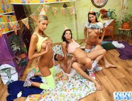 Teen Kiki enjoys male striptease at her birthday party