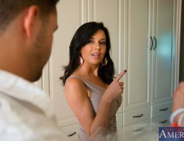 Veronica Avluv\'s husbands assistant stopped by to drop off the dry cleaning before he heads out to pick up her husband from the airport. Veronica asks him to stick around for a minute, she slips into something a bit more comfortable and proceeds to s
