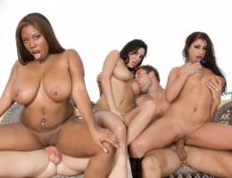 Busty Ebony Veronica Rayne, Whitney Stevens and Candace Von Street Whore Fucks