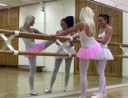 Two sexy girls performing ballet love licking wet pussy