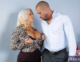 Alura Jenson is a hot busty blonde sexuality teacher. Karlo seeks her advice since sex is her expertise. He hasn\'t been able to perform in bed lately. Alura can definitely help with that. She believes in the more hands on approach to teaching and boy