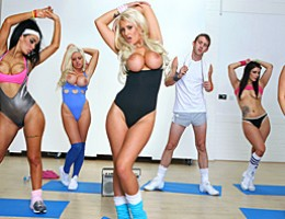 Brooklyn teaches an aerobics class. Danny wants to get in shape. When Brooklyn spots Danny\'s massive cock hanging out of his shorts she decides Danny just might need a little one on one intensive instruction.