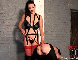 Nasty babe Sandy & her bound girlfriend in cage spanking