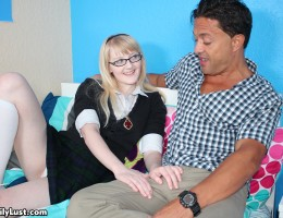 Horny teen Krystal sucking and fucking her step dad