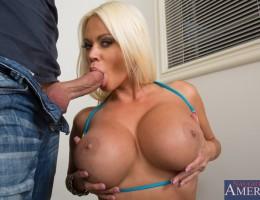 Busty blonde babe Nikita Von James has orgasmic sex with big cocked friend of her boyfriend.