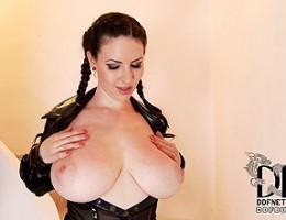 Karina Heart In Vinyl Jiggles Her Melons & Spanks Her Ass