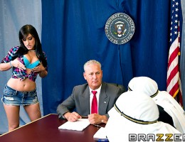 Jennifer White went to bug her diplomat father at the U.S. Peace Summit and screw around with the heads of state. Those poor guys almost lost their minds when they saw Jennifer teasing with her huge natural boobs. Security had to step in and pull that slu