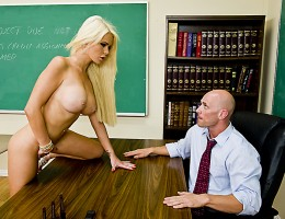 Alexis is obsessed with her teacher Mr. Sins. She masturbates to his picture on a regular basis. Now that schools ending she won\'t see him anymore... she insists on giving him a go-away present!