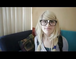 Blonde with glasses suck and fuck
