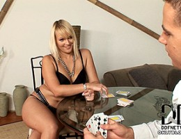 Miranda plays strip poker and blows a dick for thrills