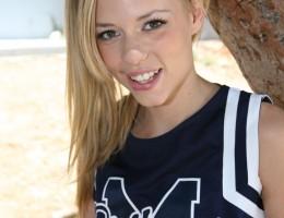 Perky blonde cheerleader gets her first taste of interracial sex